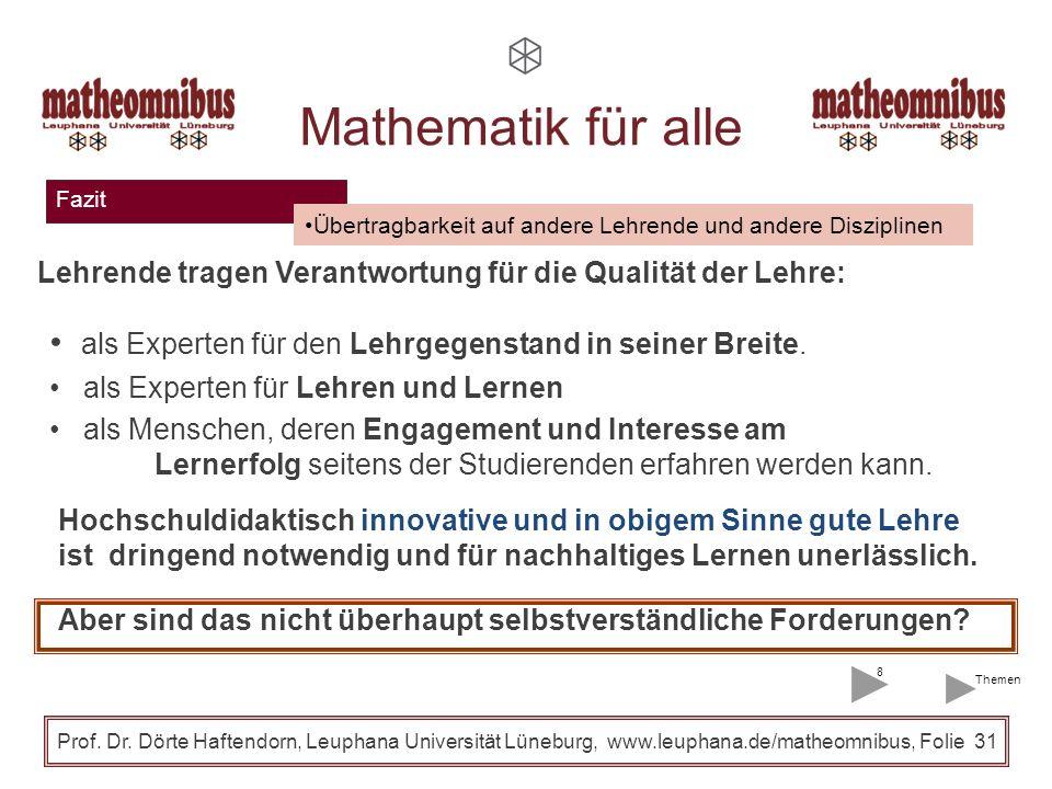 27.03.2017 27.03.2017. Mathematik für alle. Fazit. Übertragbarkeit auf andere Lehrende und andere Disziplinen.