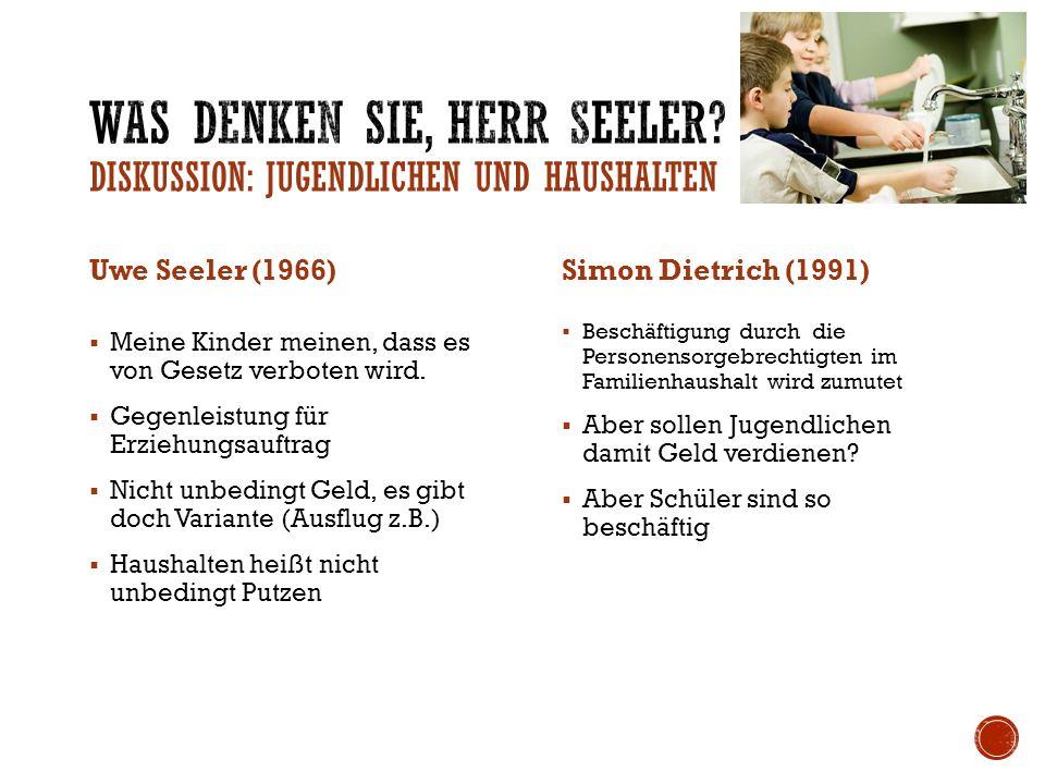Was denken Sie, Herr Seeler DISKUSSION: Jugendlichen und Haushalten