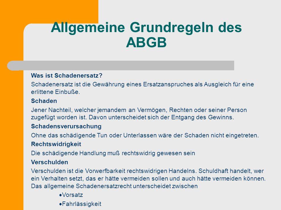 Allgemeine Grundregeln des ABGB