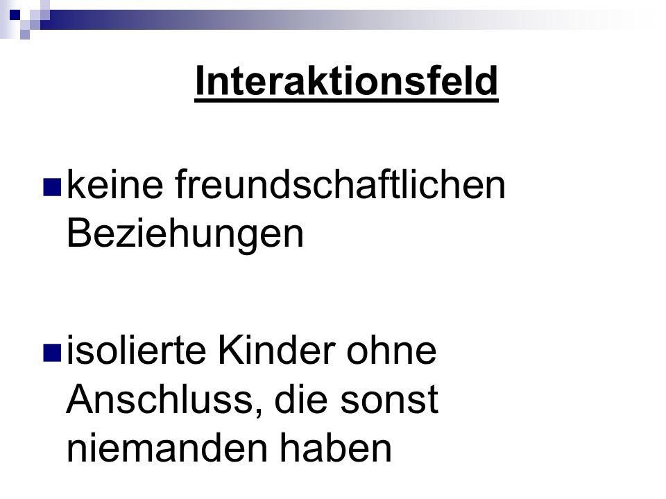 Interaktionsfeldkeine freundschaftlichen Beziehungen.