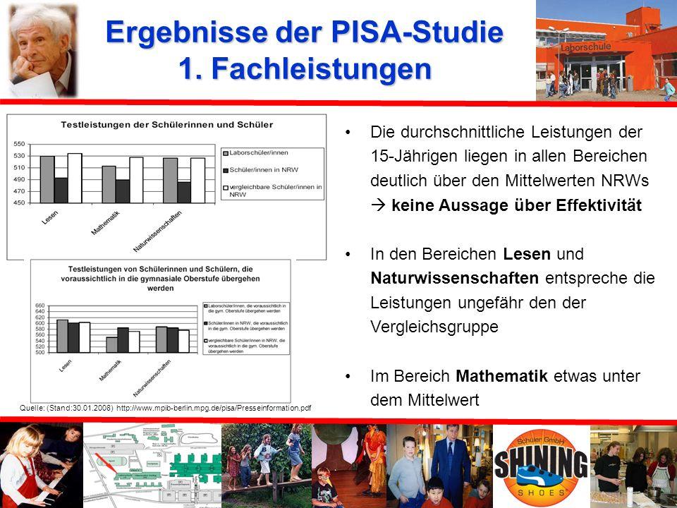 Ergebnisse der PISA-Studie 1. Fachleistungen