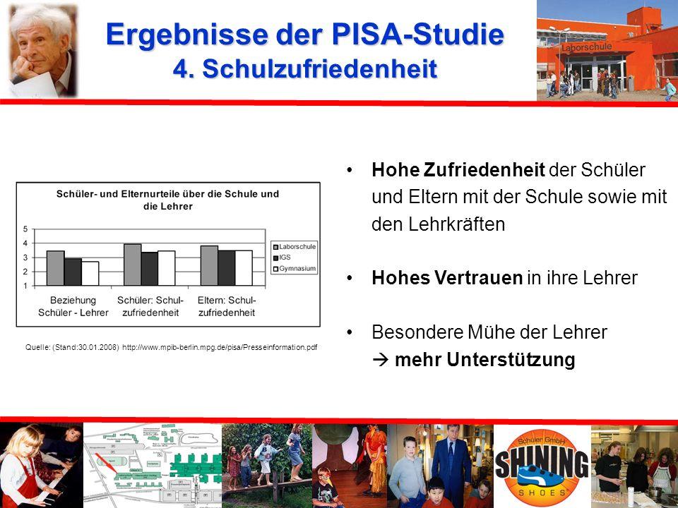 Ergebnisse der PISA-Studie 4. Schulzufriedenheit