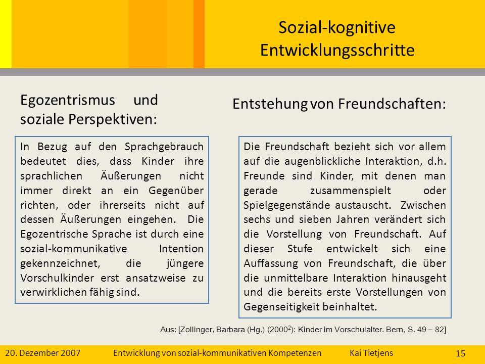 Sozial-kognitive Entwicklungsschritte