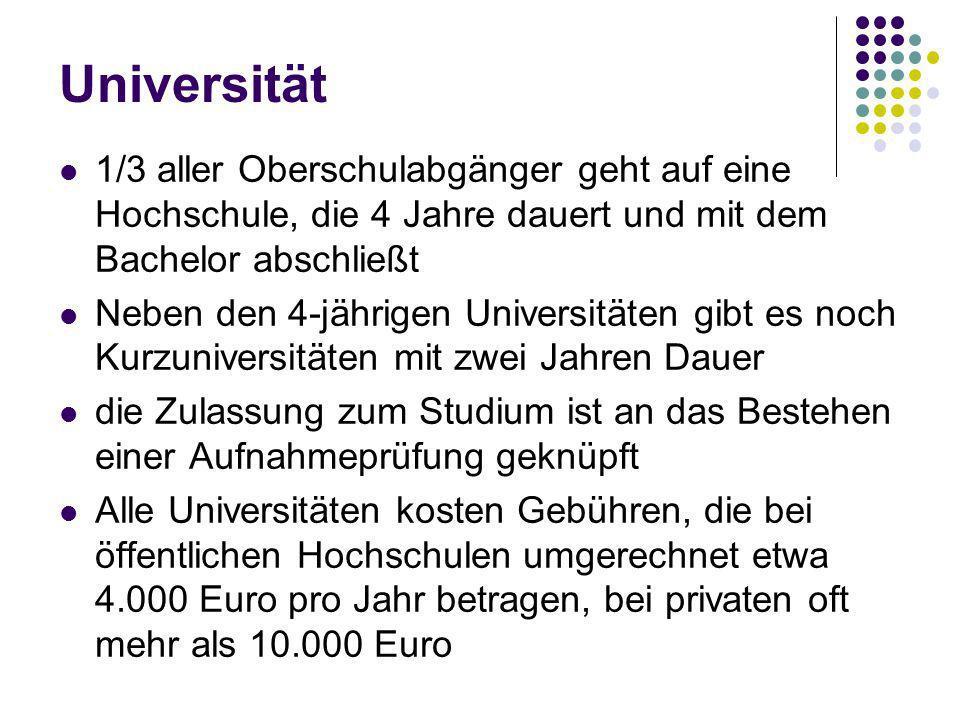 Universität 1/3 aller Oberschulabgänger geht auf eine Hochschule, die 4 Jahre dauert und mit dem Bachelor abschließt.