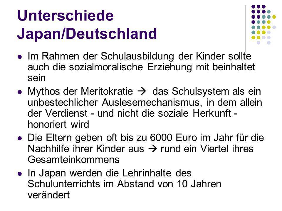 Unterschiede Japan/Deutschland