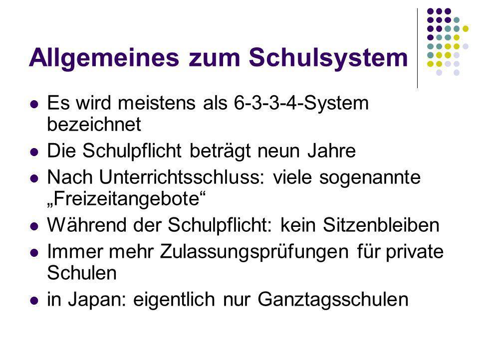 Allgemeines zum Schulsystem