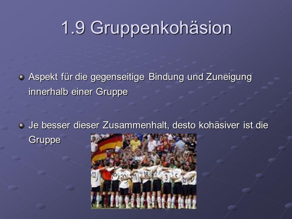 1.9 Gruppenkohäsion Aspekt für die gegenseitige Bindung und Zuneigung innerhalb einer Gruppe.