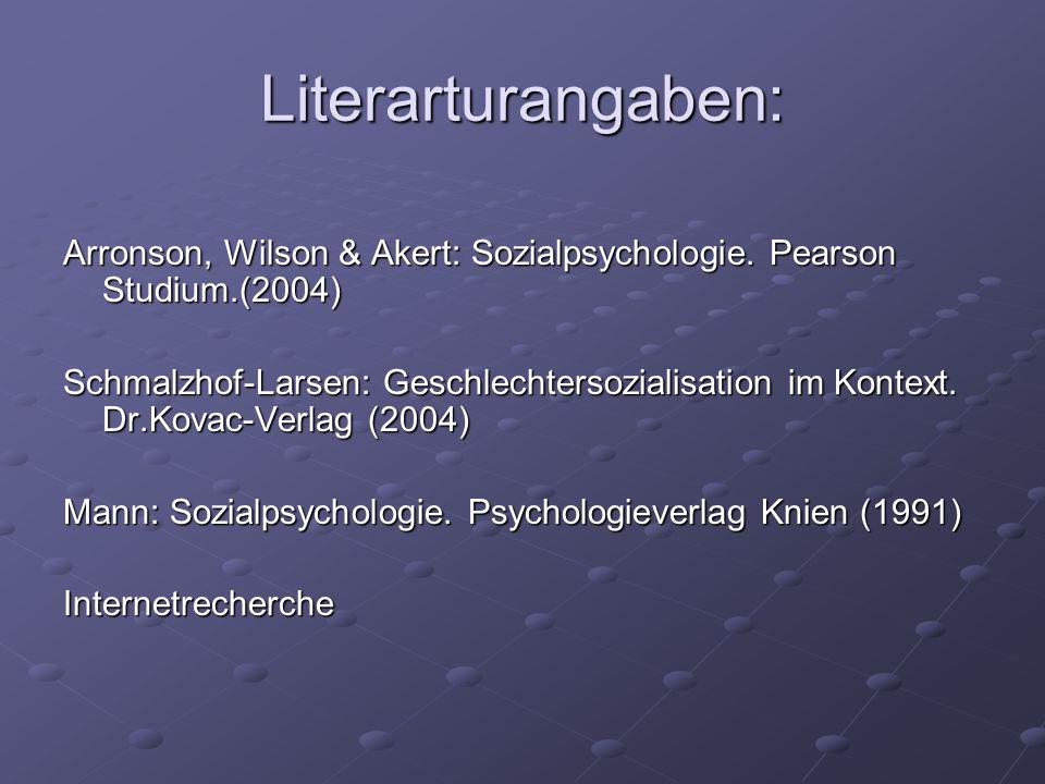 Literarturangaben: Arronson, Wilson & Akert: Sozialpsychologie. Pearson Studium.(2004)