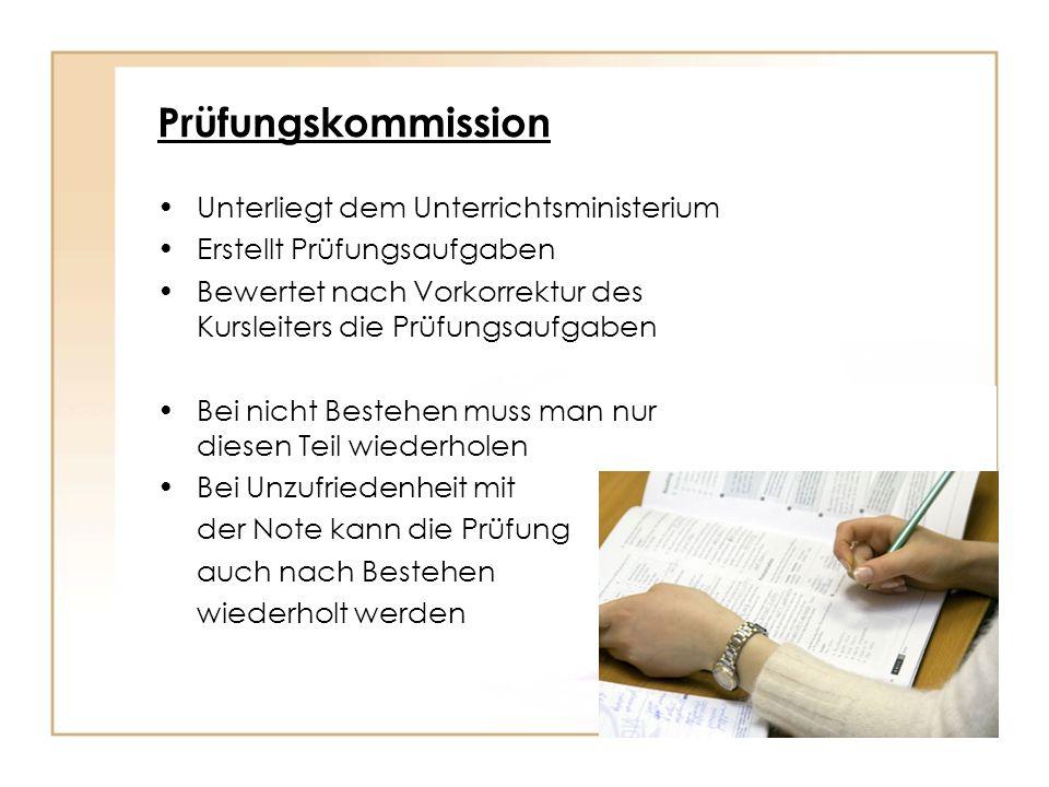 Prüfungskommission Unterliegt dem Unterrichtsministerium