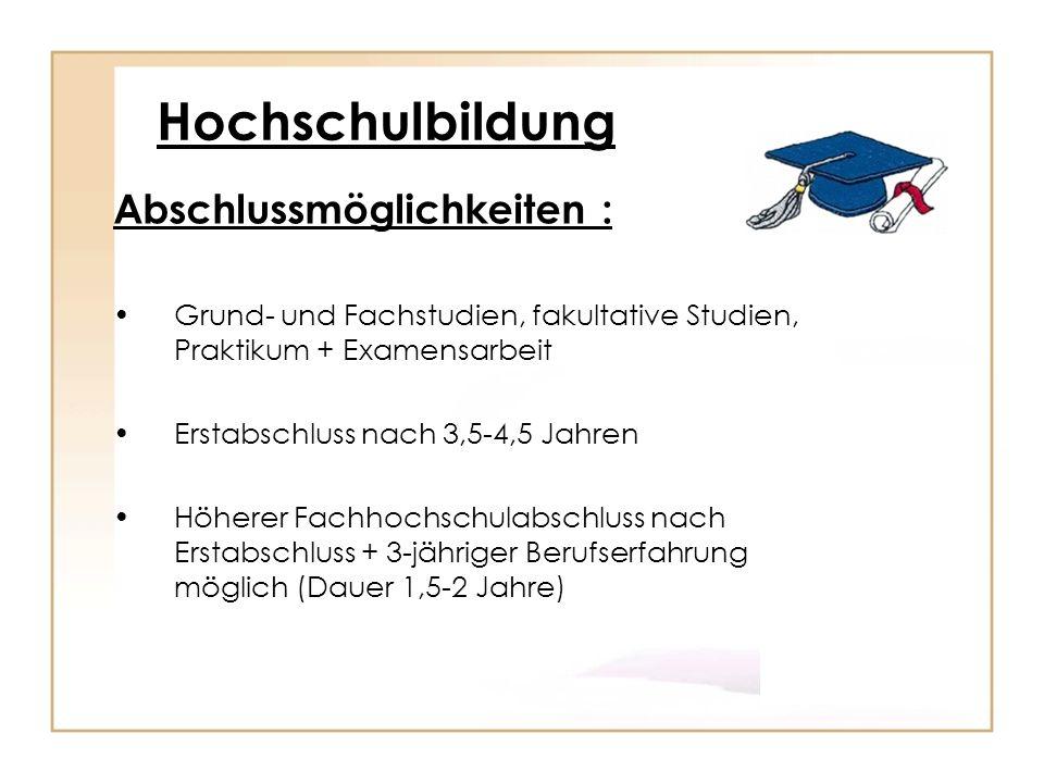 Hochschulbildung Abschlussmöglichkeiten :
