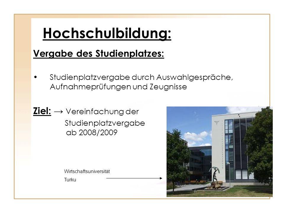 Hochschulbildung: Vergabe des Studienplatzes: