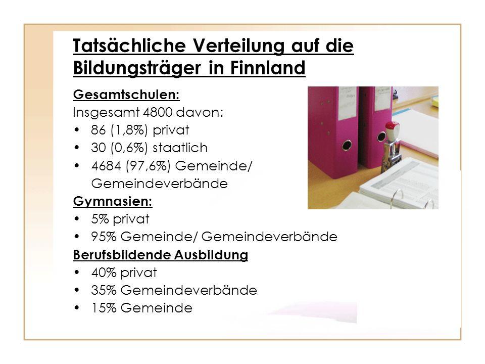 Tatsächliche Verteilung auf die Bildungsträger in Finnland
