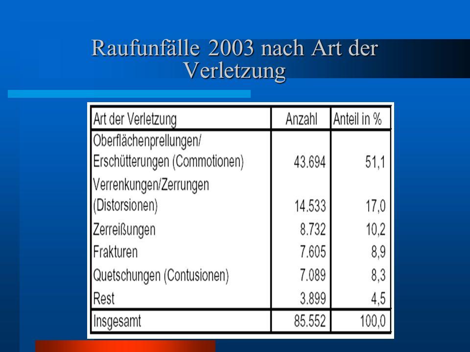 Raufunfälle 2003 nach Art der Verletzung