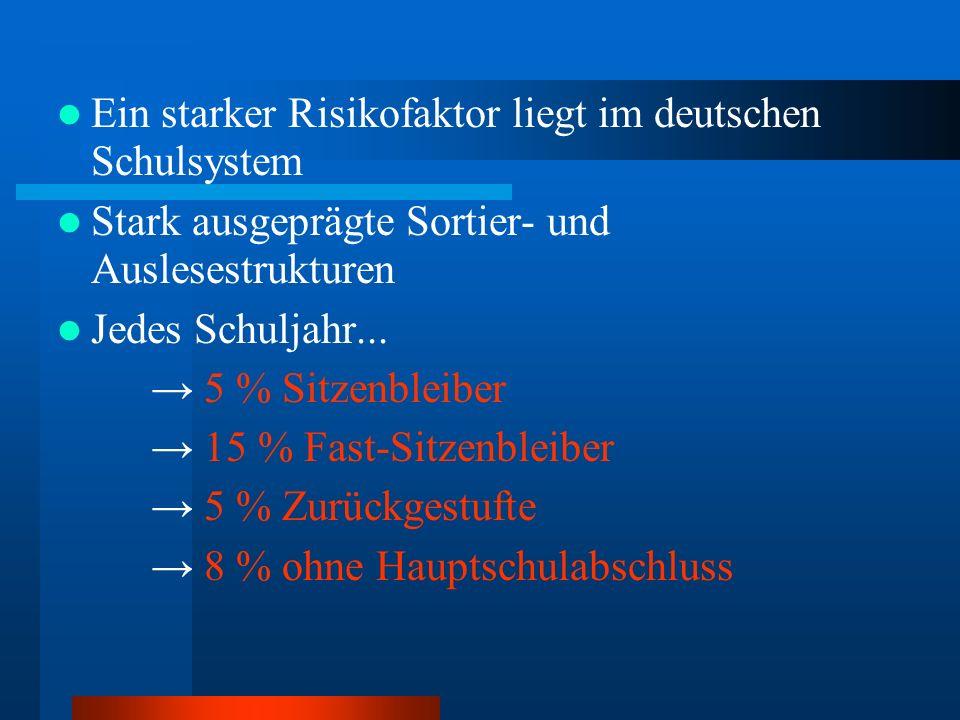 Ein starker Risikofaktor liegt im deutschen Schulsystem