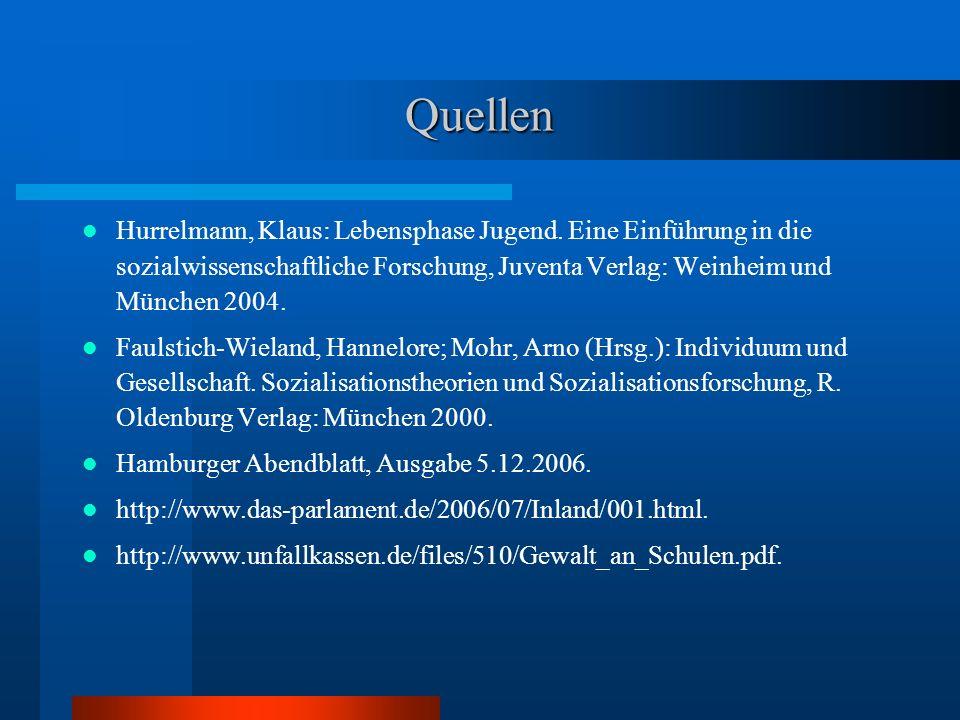 Quellen Hurrelmann, Klaus: Lebensphase Jugend. Eine Einführung in die sozialwissenschaftliche Forschung, Juventa Verlag: Weinheim und München 2004.