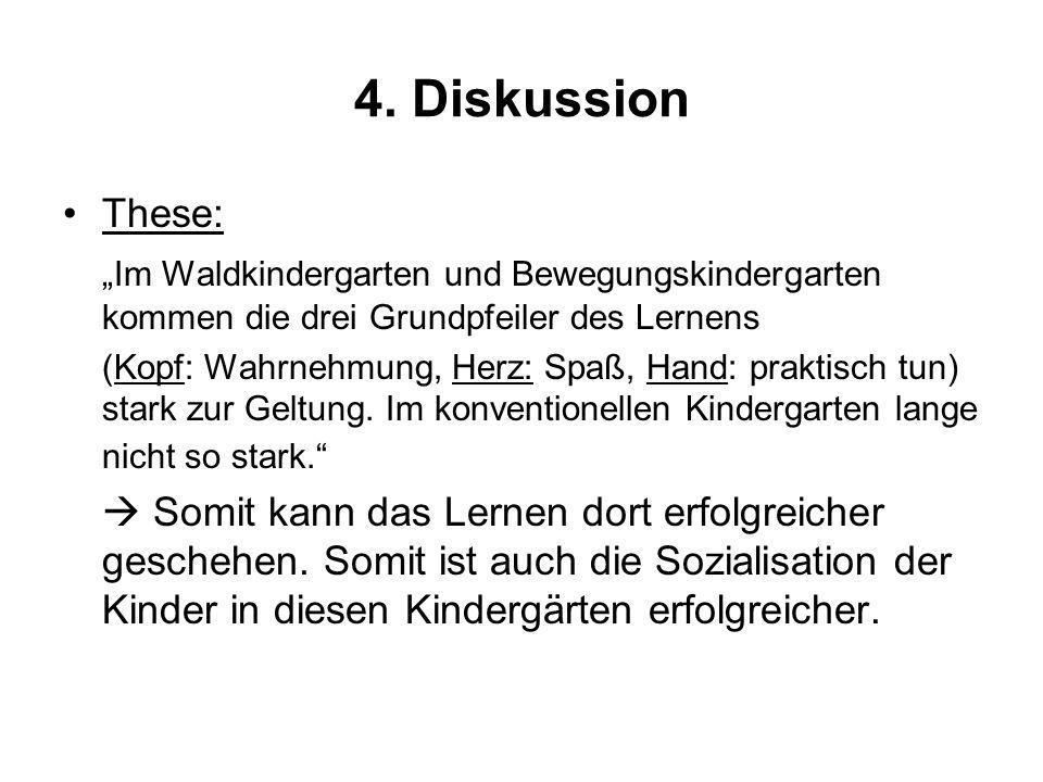 """4. DiskussionThese: """"Im Waldkindergarten und Bewegungskindergarten kommen die drei Grundpfeiler des Lernens."""