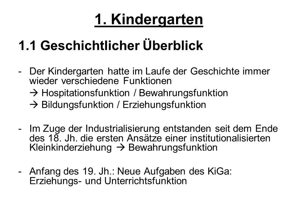 1. Kindergarten 1.1 Geschichtlicher Überblick