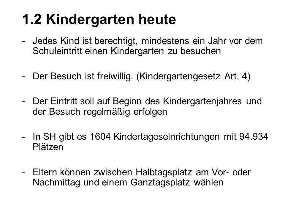 1.2 Kindergarten heute Jedes Kind ist berechtigt, mindestens ein Jahr vor dem Schuleintritt einen Kindergarten zu besuchen.