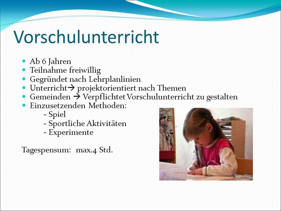 Vorschulunterricht Ab 6 Jahren Teilnahme freiwillig