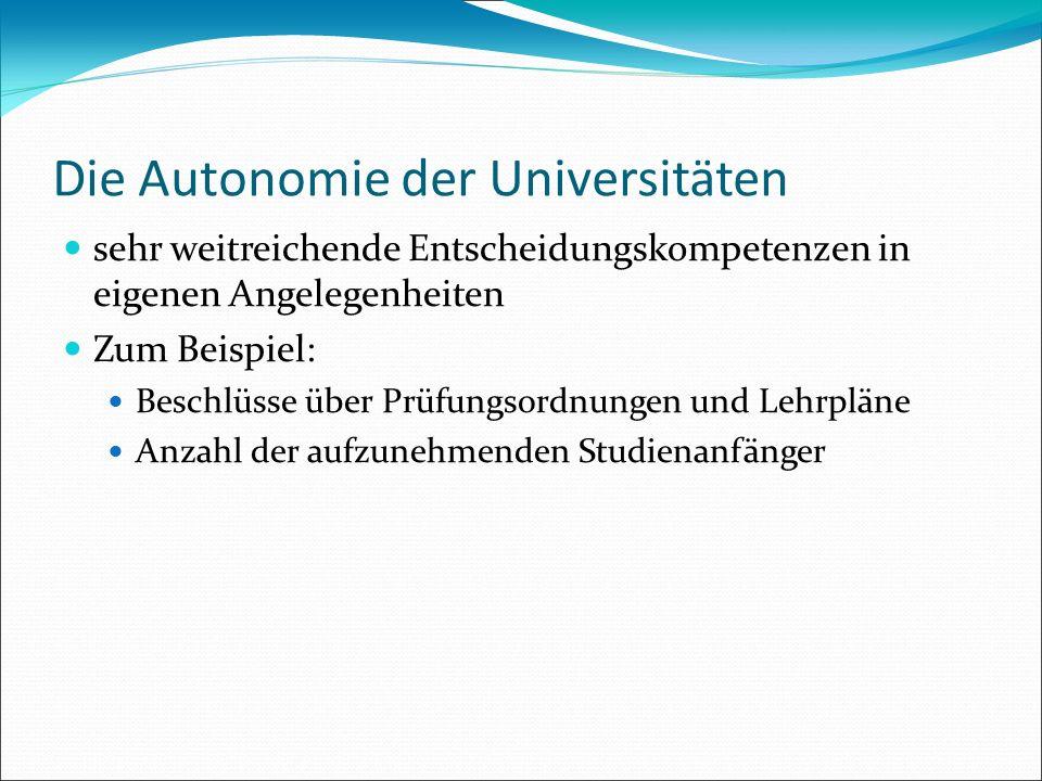 Die Autonomie der Universitäten