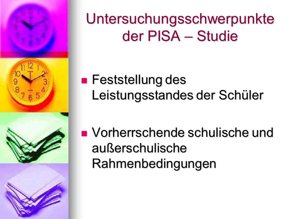 Untersuchungsschwerpunkte der PISA – Studie