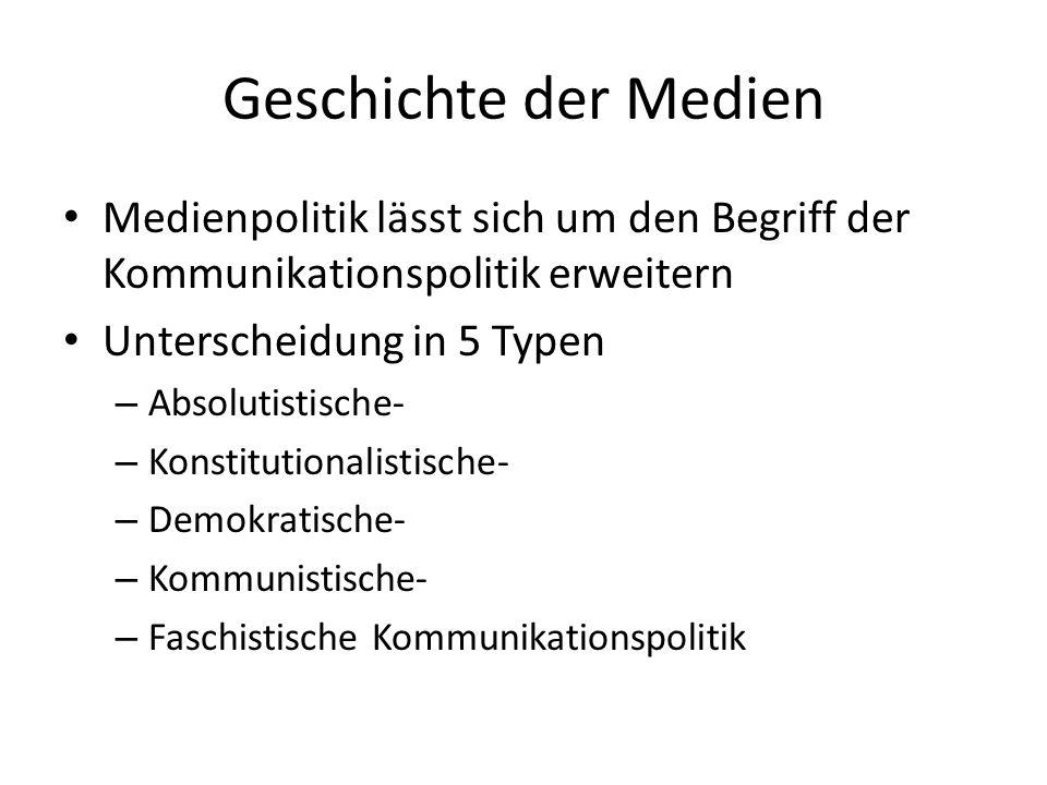 Geschichte der Medien Medienpolitik lässt sich um den Begriff der Kommunikationspolitik erweitern. Unterscheidung in 5 Typen.