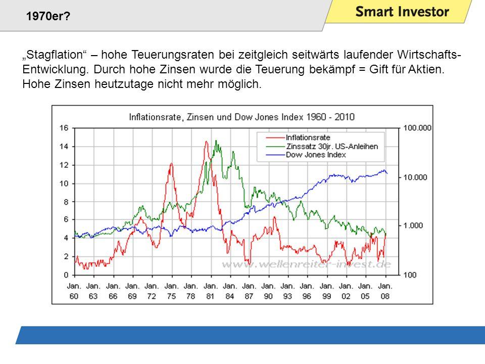 """1970er """"Stagflation – hohe Teuerungsraten bei zeitgleich seitwärts laufender Wirtschafts-"""