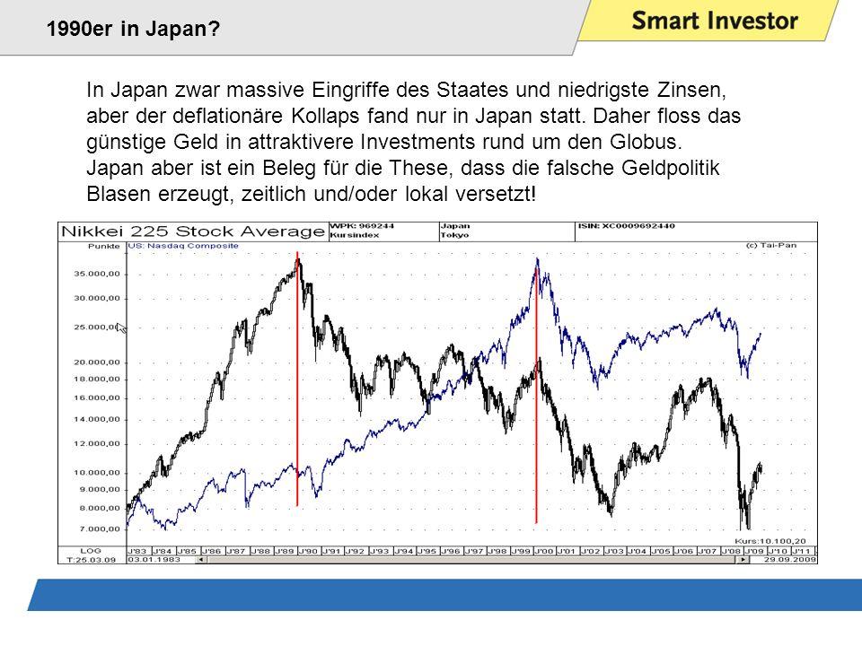 1990er in Japan In Japan zwar massive Eingriffe des Staates und niedrigste Zinsen,