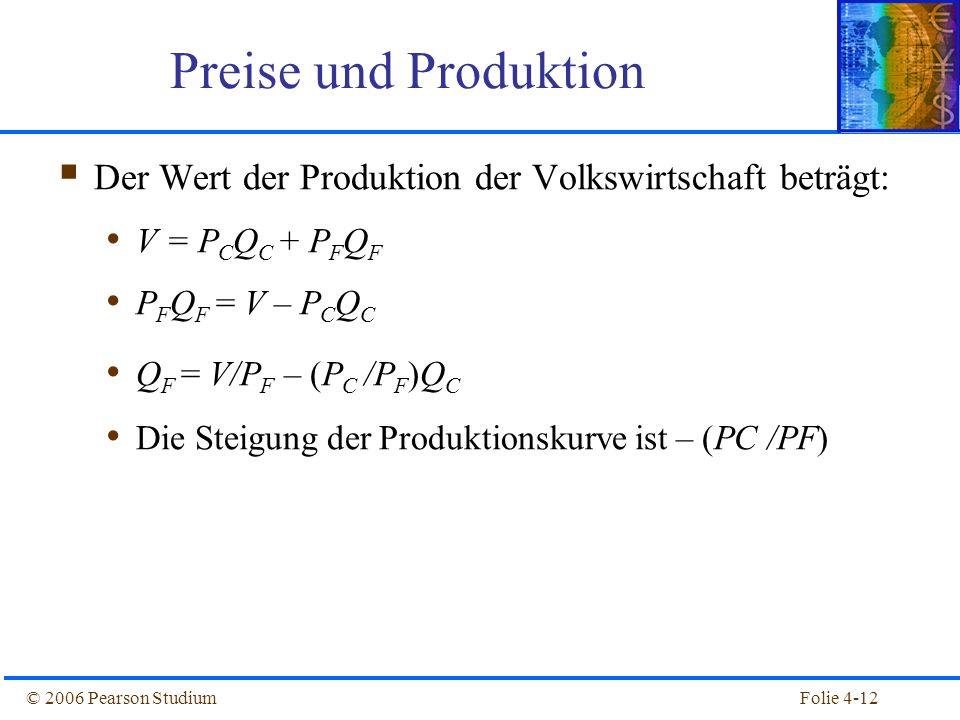 Preise und Produktion Der Wert der Produktion der Volkswirtschaft beträgt: V = PCQC + PFQF. PFQF = V – PCQC.