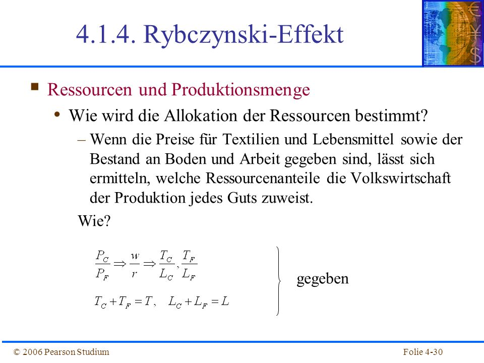 4.1.4. Rybczynski-Effekt Ressourcen und Produktionsmenge