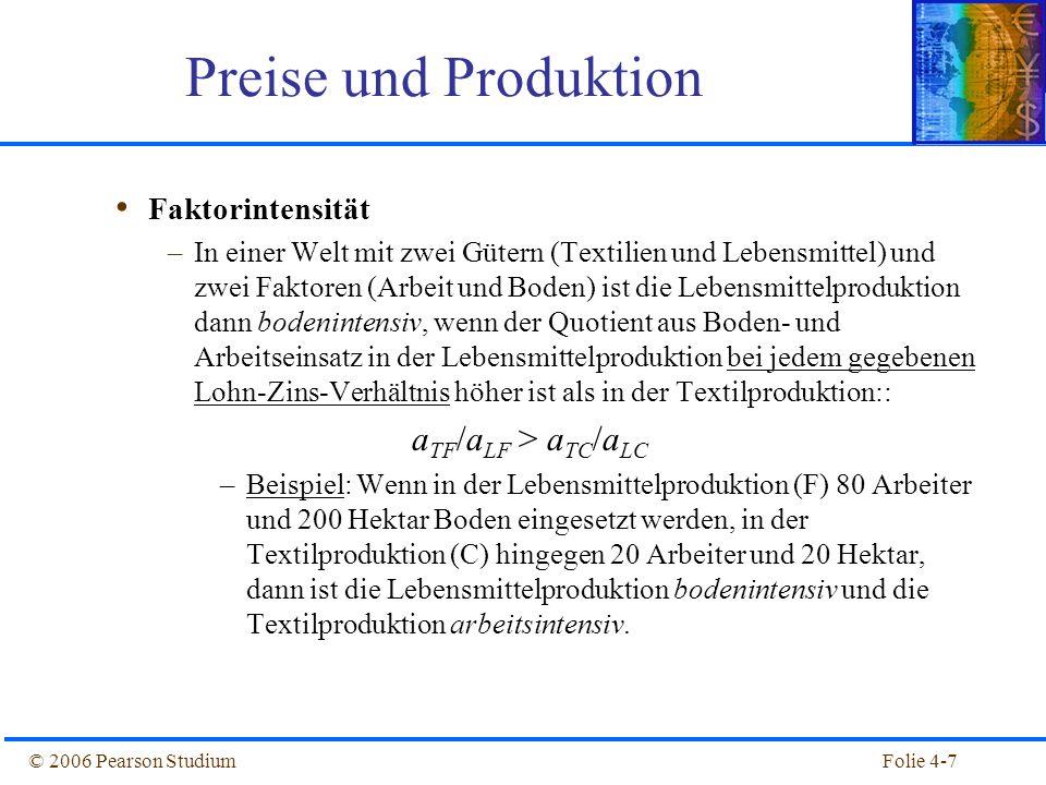 Preise und Produktion aTF/aLF > aTC/aLC Faktorintensität