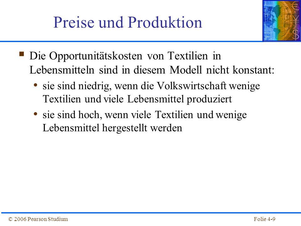 Preise und Produktion Die Opportunitätskosten von Textilien in Lebensmitteln sind in diesem Modell nicht konstant: