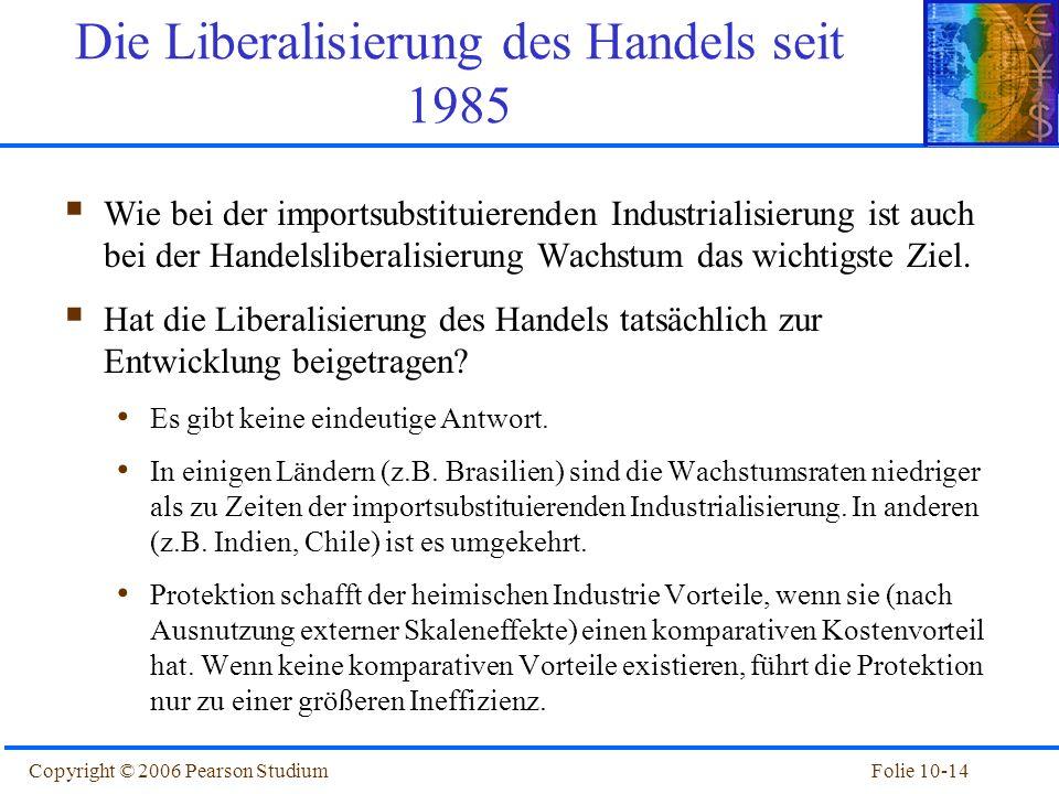 Die Liberalisierung des Handels seit 1985