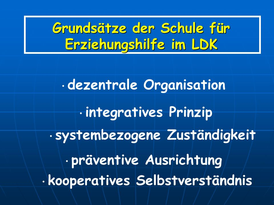 Grundsätze der Schule für Erziehungshilfe im LDK