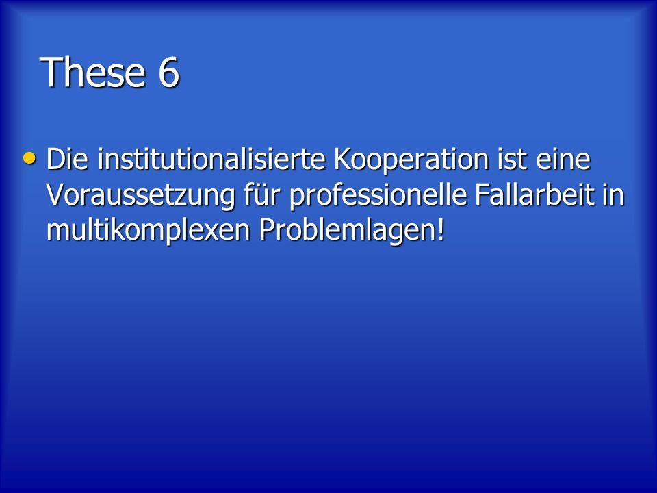 These 6 Die institutionalisierte Kooperation ist eine Voraussetzung für professionelle Fallarbeit in multikomplexen Problemlagen!