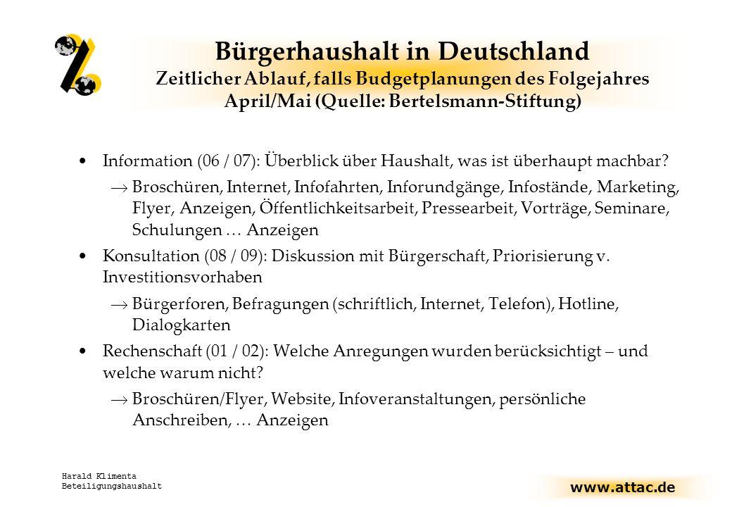 Bürgerhaushalt in Deutschland Zeitlicher Ablauf, falls Budgetplanungen des Folgejahres April/Mai (Quelle: Bertelsmann-Stiftung)