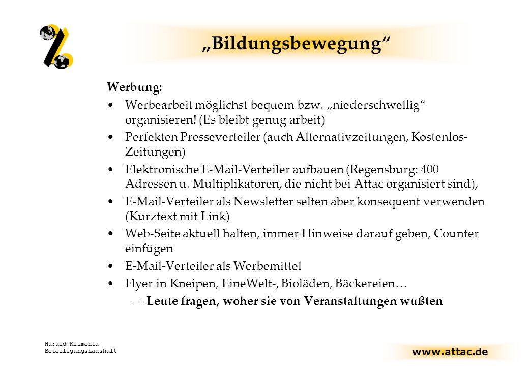 """Bildungsbewegung Werbung:"