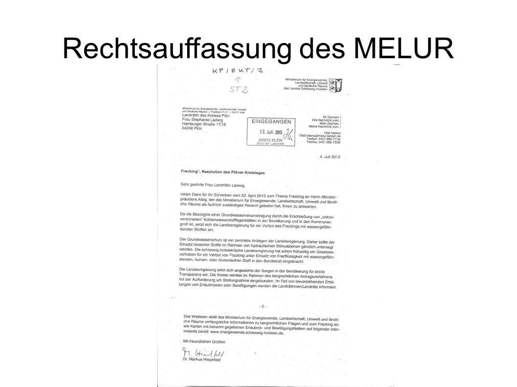Rechtsauffassung des MELUR