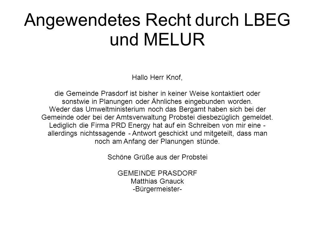 Angewendetes Recht durch LBEG und MELUR