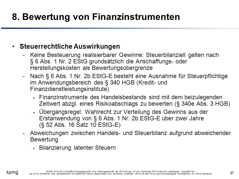 8. Bewertung von Finanzinstrumenten