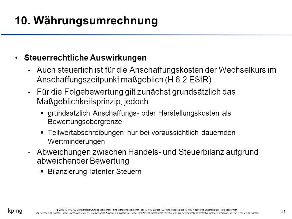10. Währungsumrechnung Steuerrechtliche Auswirkungen