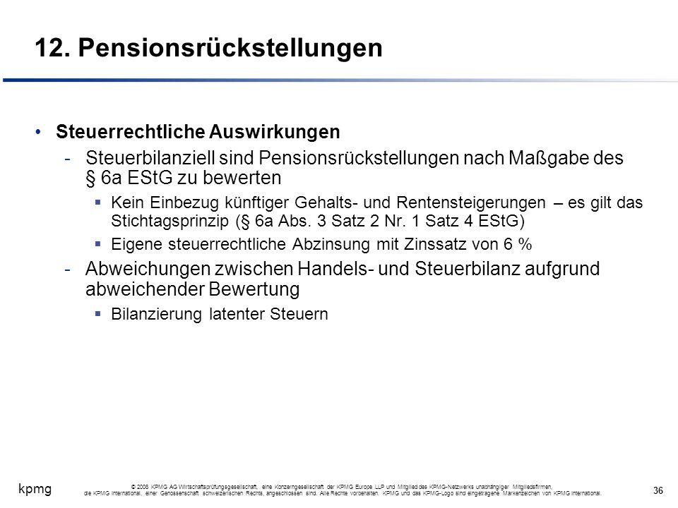 12. Pensionsrückstellungen