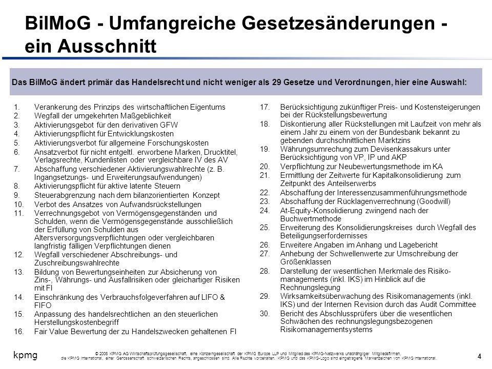 BilMoG - Umfangreiche Gesetzesänderungen - ein Ausschnitt