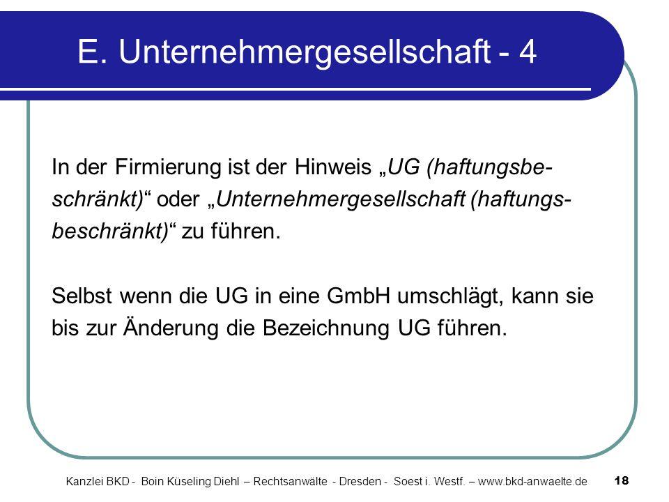 E. Unternehmergesellschaft - 4