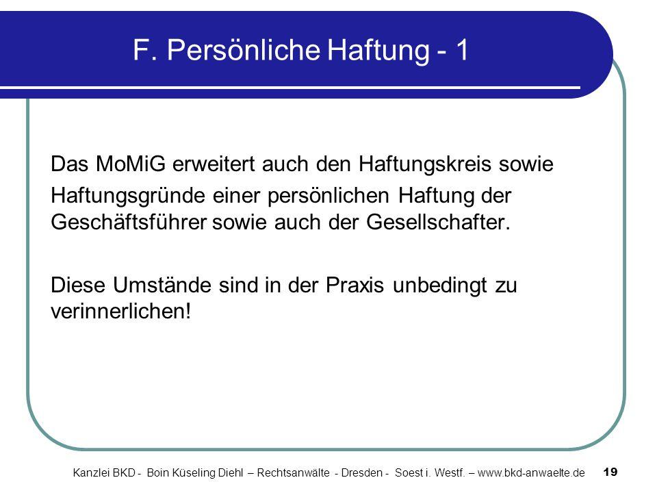 F. Persönliche Haftung - 1