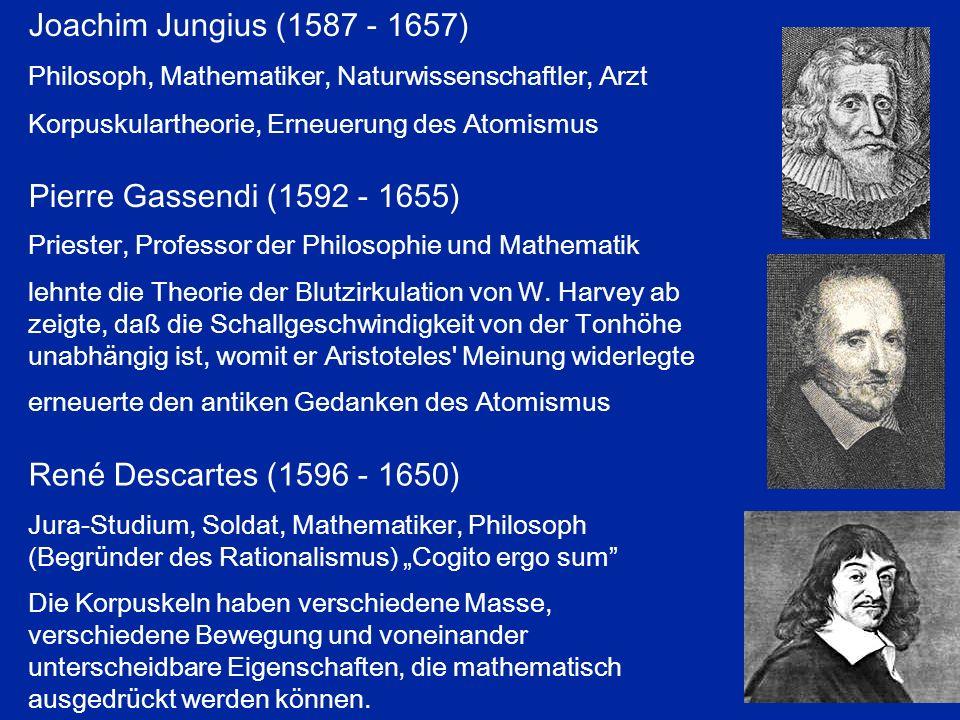 Joachim Jungius (1587 - 1657) Pierre Gassendi (1592 - 1655)