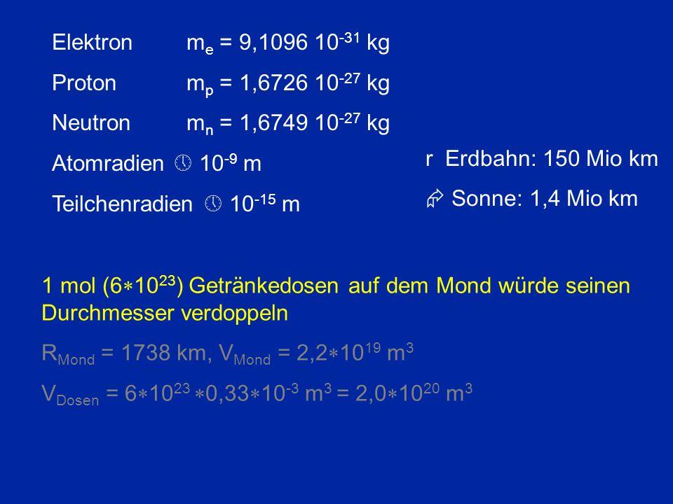 Elektron me = 9,1096 10-31 kg Proton mp = 1,6726 10-27 kg. Neutron mn = 1,6749 10-27 kg. Atomradien  10-9 m.