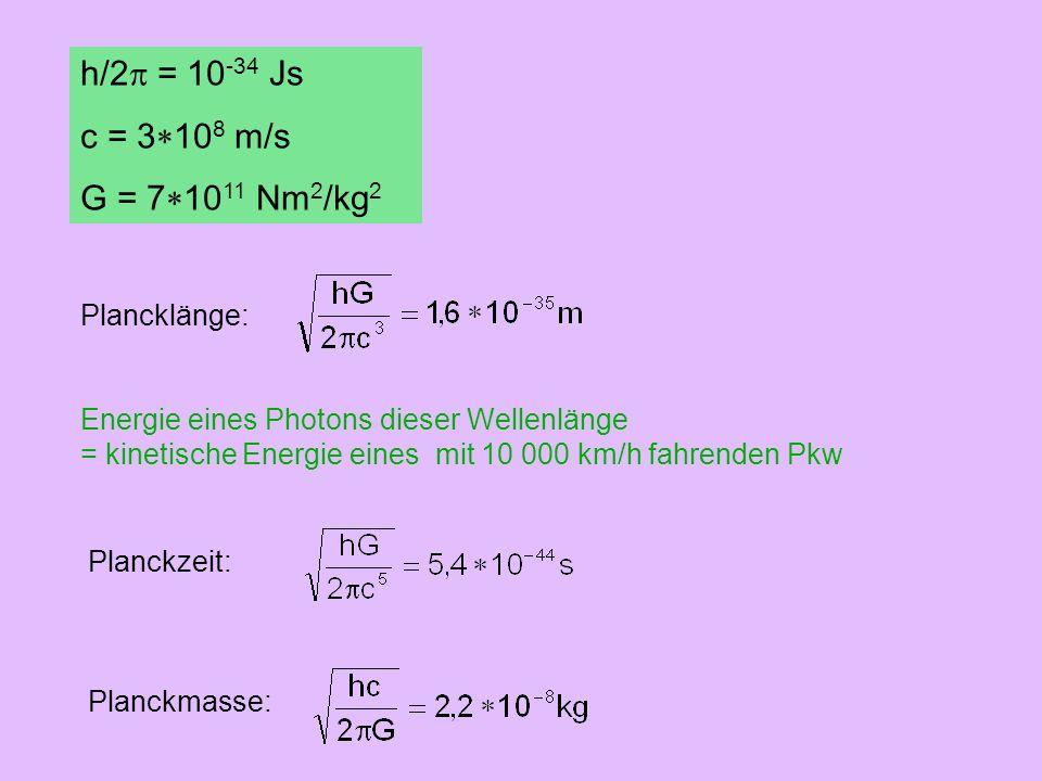 h/2p = 10-34 Js c = 3*108 m/s G = 7*1011 Nm2/kg2 Plancklänge: