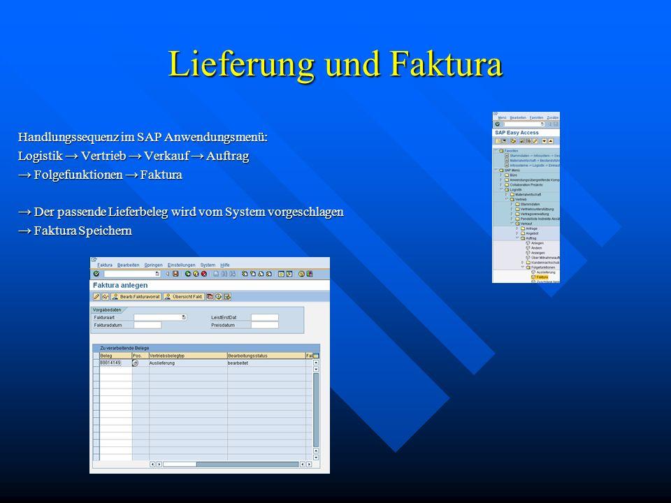 Lieferung und Faktura Handlungssequenz im SAP Anwendungsmenü: