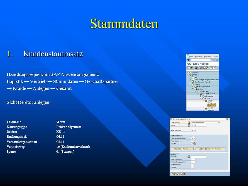 Stammdaten Kundenstammsatz Handlungssequenz im SAP Anwendungsmenü: